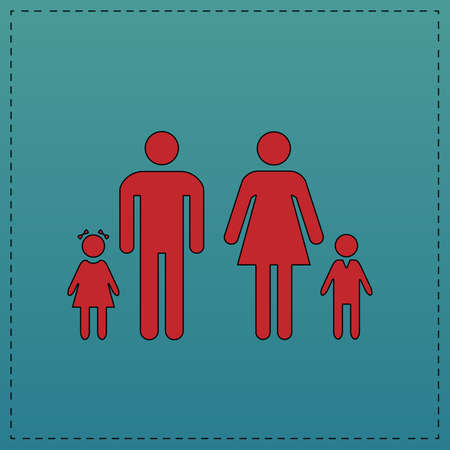 Family Red vector icon with black contour line. Flat computer symbol on blue background Illustration
