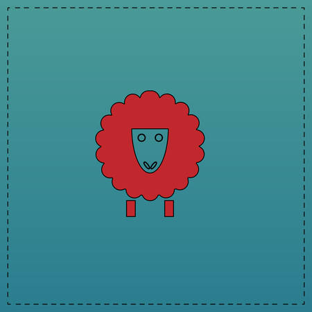 ewe: Sheep Red vector icon with black contour line. Flat computer symbol on blue background Illustration
