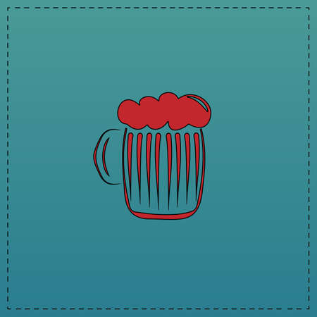 foamy beer Red vector icon with black contour line. Flat computer symbol on blue background Illustration