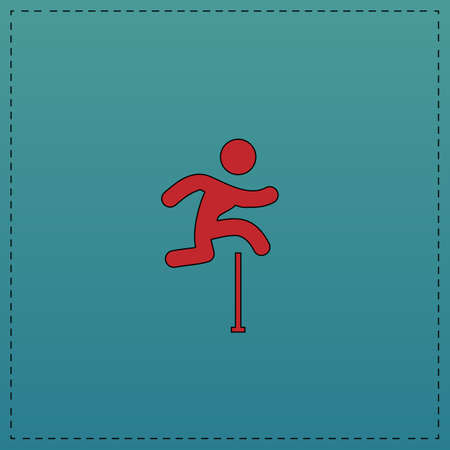 steeplechase: Steeplechase Red vector icon with black contour line. Flat computer symbol on blue background
