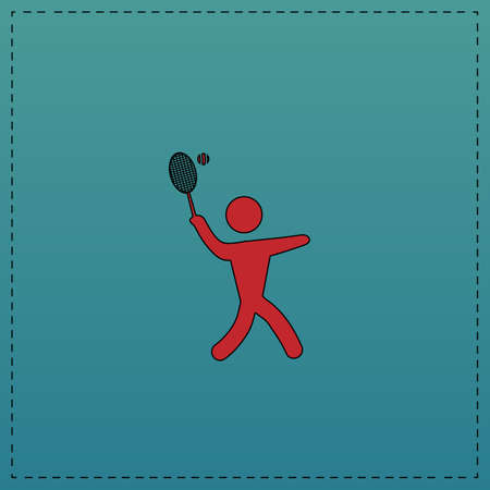 tennis Red vector icon with black contour line. Flat computer symbol on blue background Illustration