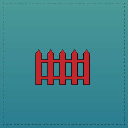 Fence Red vector icon with black contour line. Flat computer symbol on blue background Illustration