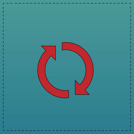 rotation arrows Red vector icon with black contour line. Flat computer symbol on blue background