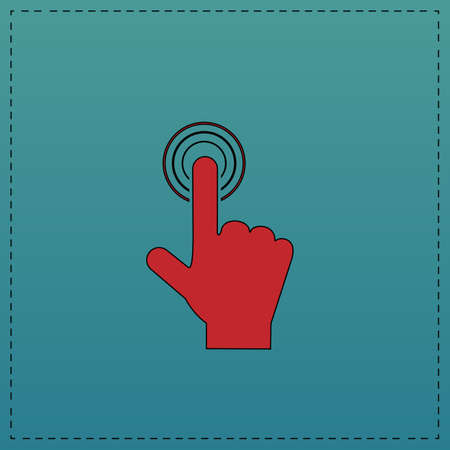 hand click Red vector icon with black contour line. Flat computer symbol on blue background