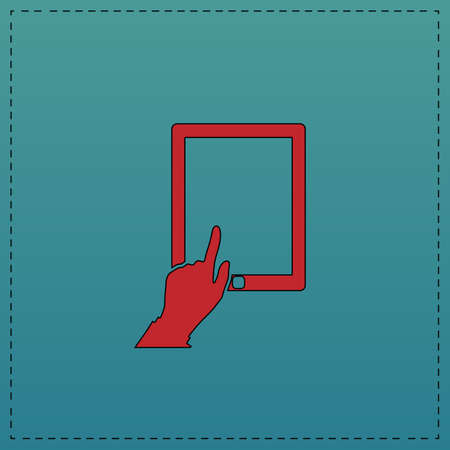 pictogrammes: click tablet Red vector icon with black contour line. Flat computer symbol on blue background