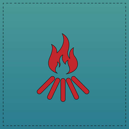 Bonfire Red vector icon with black contour line. Flat computer symbol on blue background