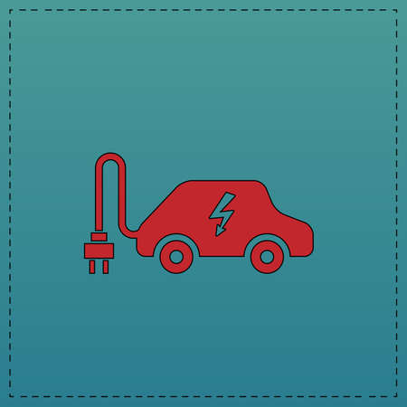 Electric car Red vector icon with black contour line. Flat computer symbol on blue background Illustration