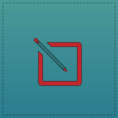 subscription: subscription Red vector icon with black contour line. Flat computer symbol on blue background