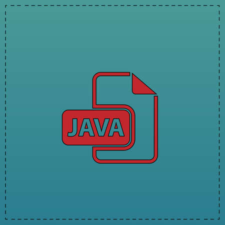 JAVA Red vector icon with black contour line. Flat computer symbol on blue background Illustration