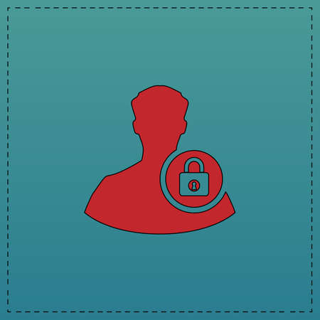 authenticate: authenticate Red vector icon with black contour line. Flat computer symbol on blue background