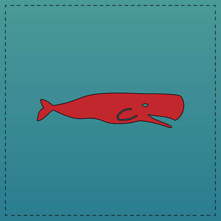 grampus: whale Red vector icon with black contour line. Flat computer symbol on blue background