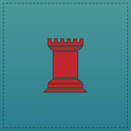 chess rook: Chess Rook Red vector icon with black contour line. Flat computer symbol on blue background