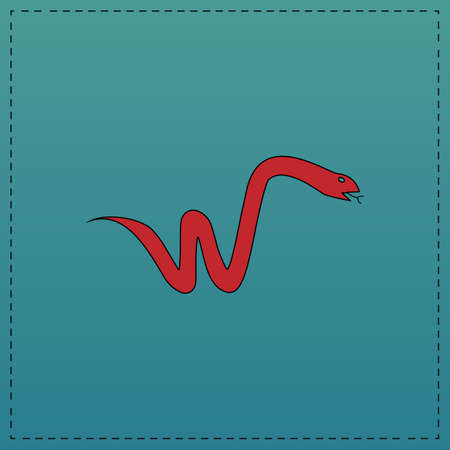 Snake Red vector icon with black contour line. Flat computer symbol on blue background