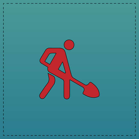Digging man Red vector icon with black contour line. Flat computer symbol on blue background Illustration