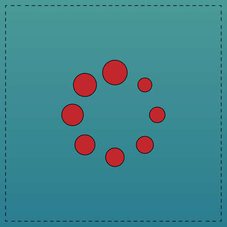 buffering Red vector icon with black contour line. Flat computer symbol on blue background Illustration