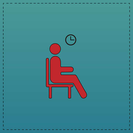 waiting line: Waiting Red vector icon with black contour line. Flat computer symbol on blue background