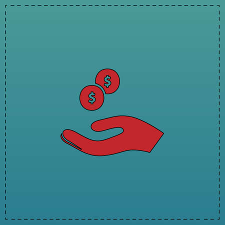 beggar Red vector icon with black contour line. Flat computer symbol on blue background