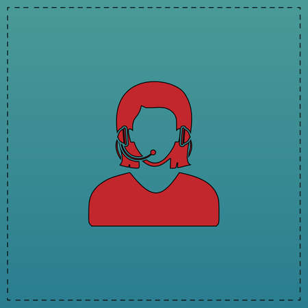 telephonist Red vector icon with black contour line. Flat computer symbol on blue background