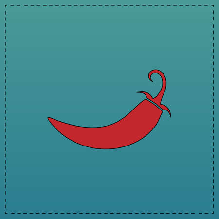 cayenne: chili Red vector icon with black contour line. Flat computer symbol on blue background