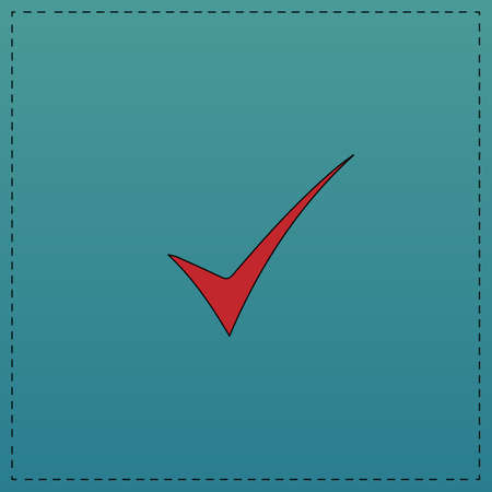 confirm: confirm Red vector icon with black contour line. Flat computer symbol on blue background Illustration