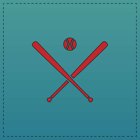 infield: baseball Red vector icon with black contour line. Flat computer symbol on blue background