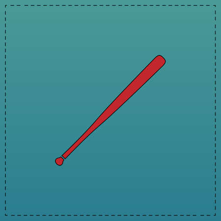 Baseball bat Red vector icon with black contour line. Flat computer symbol on blue background
