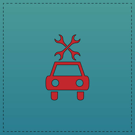 Car service Red vector icon with black contour line. Flat computer symbol on blue background