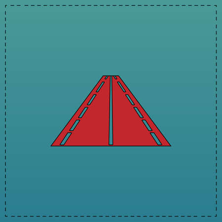 Road Red vector icon with black contour line. Flat computer symbol on blue background Illustration