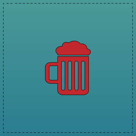 guinness: Beer Red vector icon with black contour line. Flat computer symbol on blue background Illustration