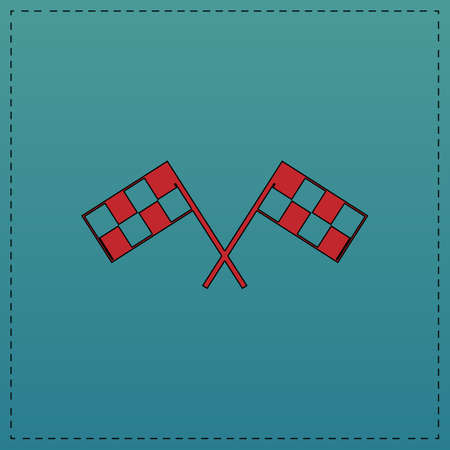 two crossed checkered flags: Racing flag Red vector icon with black contour line. Flat computer symbol on blue background