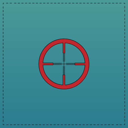 Crosshair Red vector icon with black contour line. Flat computer symbol on blue background Illustration