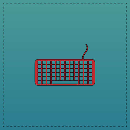 put the key: Keyboard Red vector icon with black contour line. Flat computer symbol on blue background