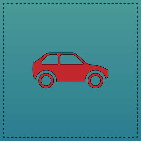 Car Red vector icon with black contour line. Flat computer symbol on blue background