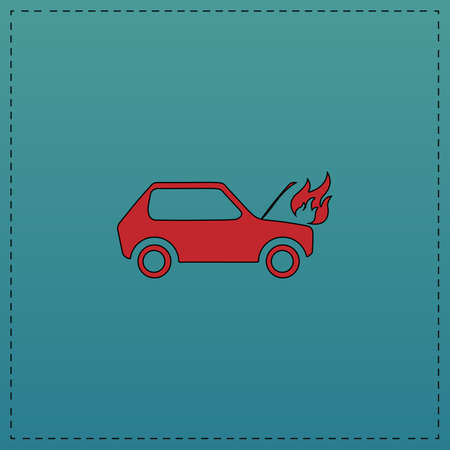 Car fired Red vector icon with black contour line. Flat computer symbol on blue background