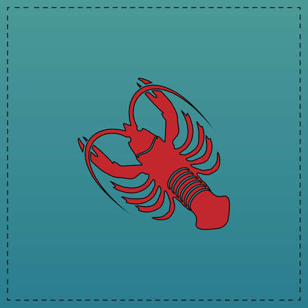 lobster Red vector icon with black contour line. Flat computer symbol on blue background