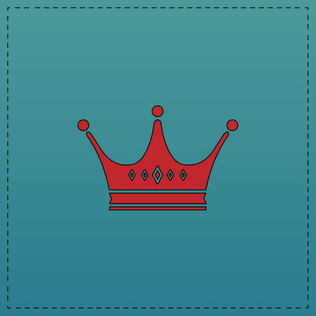 Crown Red vector icon with black contour line. Flat computer symbol on blue background