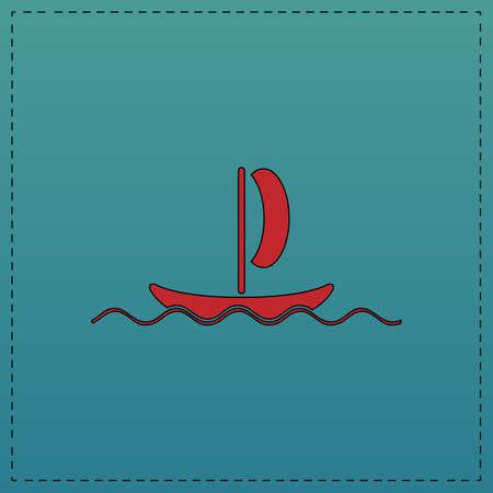yacht Red vector icon with black contour line. Flat computer symbol on blue background Illustration