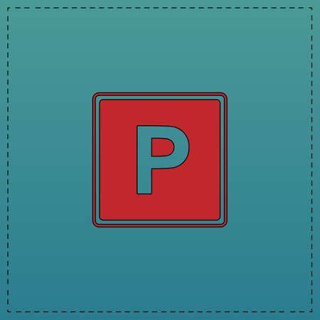 Parking Red vector icon with black contour line. Flat computer symbol on blue background Illustration