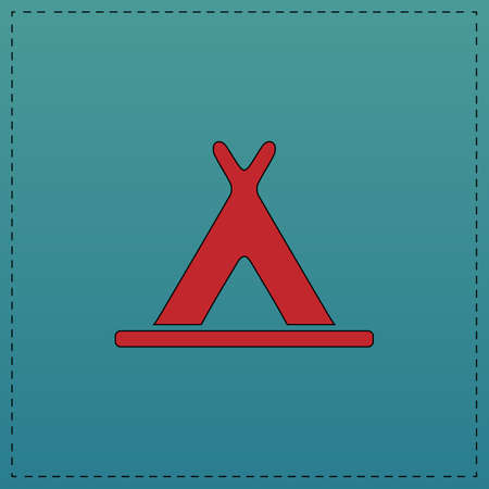 Wigwam Red vector icon with black contour line. Flat computer symbol on blue background