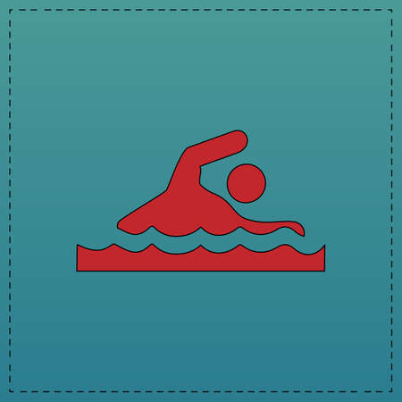 Swimming Red vector icon with black contour line. Flat computer symbol on blue background Illustration