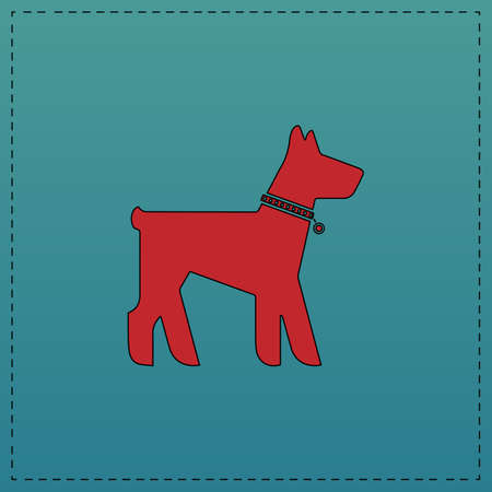 Dog Red vector icon with black contour line. Flat computer symbol on blue background