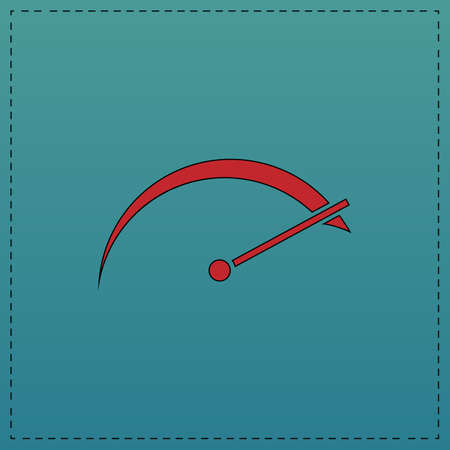 tachometer Red vector icon with black contour line. Flat computer symbol on blue background Illustration
