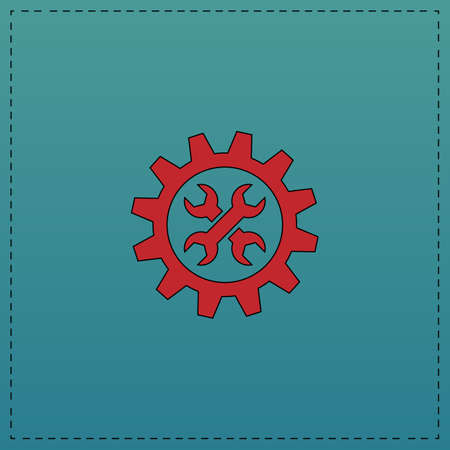 Service Red vector icon with black contour line. Flat computer symbol on blue background