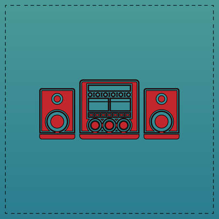 small group of objects: Sound System Red vector icon with black contour line. Flat computer symbol on blue background