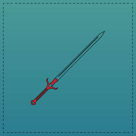 Sword Red vector icon with black contour line. Flat computer symbol on blue background