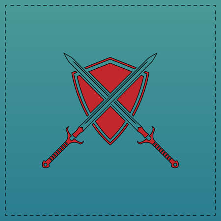 heraldry Red vector icon with black contour line. Flat computer symbol on blue background