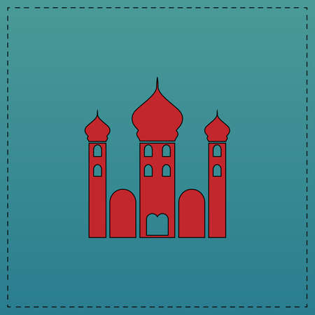 Mosque Red vector icon with black contour line. Flat computer symbol on blue background