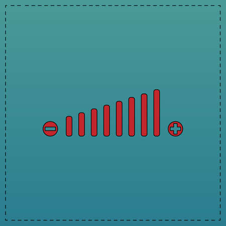 Volume adjustment Red vector icon with black contour line. Flat computer symbol on blue background