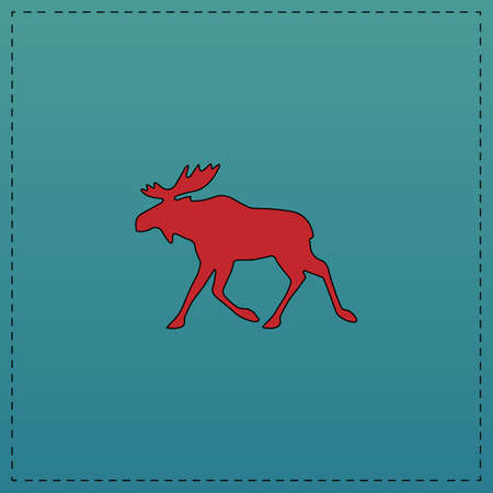 scandinavia: Moose Red vector icon with black contour line. Flat computer symbol on blue background