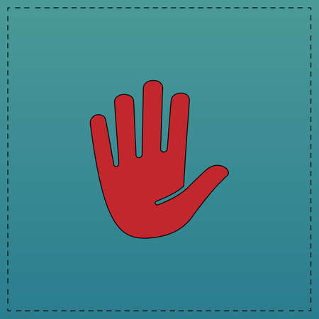 hand red: Stop hand Red vector icon with black contour line. Flat computer symbol on blue background